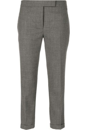 Thom Browne Lowrise Skinny Trousers In Medium Grey 2-Ply Wool Fresco