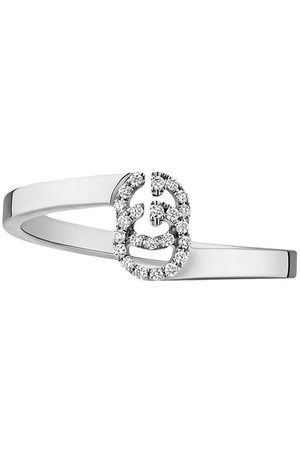Gucci Anello GG Running in oro bianco con diamanti - Effetto metallizzato