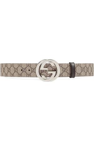 Gucci Uomo Cinture - Cintura in tessuto GG Supreme con fibbia Doppia G - Toni neutri