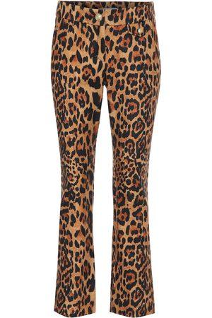 Paco rabanne Pantaloni a stampa leopardata in lana