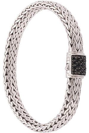 John Hardy Bracciale Classic Chain in argento e zaffiri neri