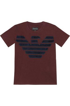 Emporio Armani T-shirt in cotone con logo in velluto