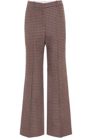 Victoria Beckham Pantaloni flared a quadri in lana
