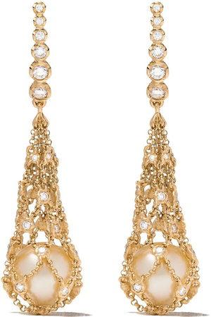 ANNOUSHKA Orecchini in 18kt a rete con diamanti e perle - 18ct Yellow Gold
