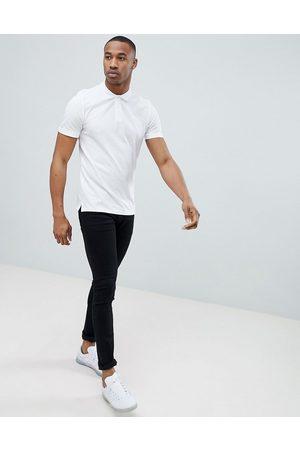 Jack & Jones Essentials - Polo con logo in piqué slim bianca