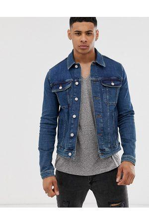 ASOS Giacca di jeans skinny lavaggio medio stile western