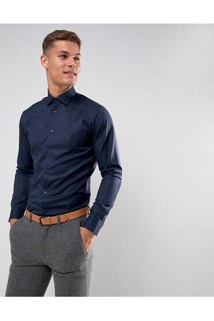 Selected Camicia slim elegante navy facile da stirare