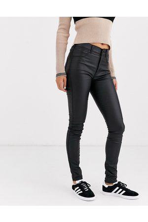 Dr Denim Solitaire - Jeans super skinny a vita super alta in pelle sintetica