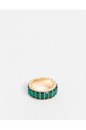 ASOS Anello con cristalli a baguette verdi