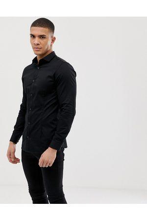 Jack & Jones Premium - Camicia super slim stretch elegante nera