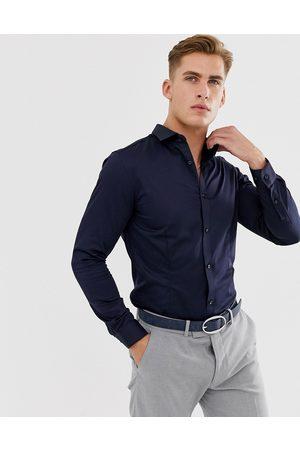 Jack & Jones Premium - Camicia elegante slim elasticizzata navy
