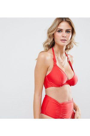 Wolf & Whistle Esclusiva - Top bikini coppe grandi con ferretto e arricciature