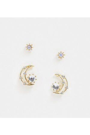 Reclaimed Inspired - Set di orecchini con luna e stella