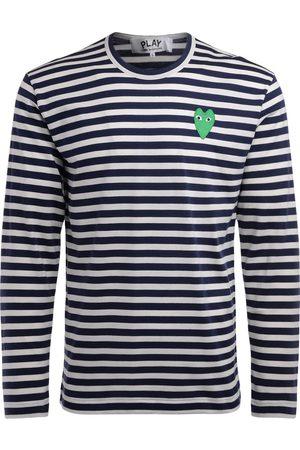 Comme des Garçons Uomo Maniche lunghe - T-Shirt manica lunga a righe bianche e con cuore