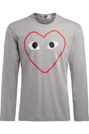 Comme des Garçons Uomo Maniche lunghe - T-Shirt manica lunga grigia con stampa cuore vuoto