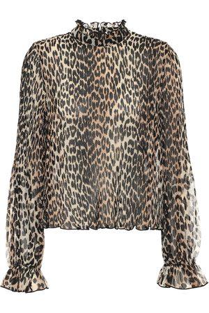 Ganni Blusa a stampa leopardo in georgette