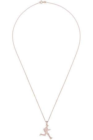 777 Collana con pendente corridore in oro rosa 18kt e diamante - 107 - Metallic: