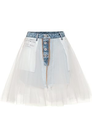 UNRAVEL Gonna in denim con tulle