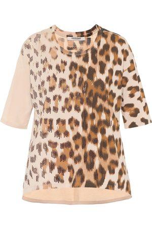 Roberto Cavalli T-shirt a stampa in cotone con cristalli