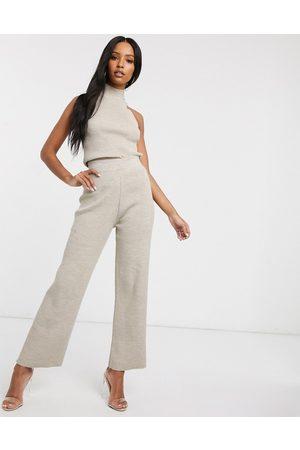 Fashionkilla Pantaloni a zampa in maglia cereale in coordinato-Crema