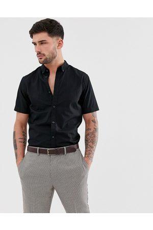 Only & Sons Camicia a maniche corte in cotone stretch nera