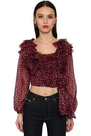 Dolce & Gabbana Camicia Cropped In Organza A Pois