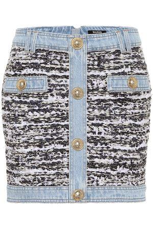 Balmain Minigonna in tweed e jeans