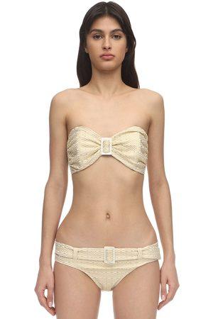 Lisa Marie Fernandez Bikini In Seersucker Con Fibbia