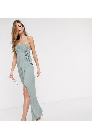 TFNC Donna Vestiti a fascia - Esclusiva - Vestito da damigella a fascia color salvia con gonna al polpaccio e pieghe