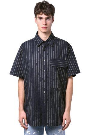 UNRAVEL Camicia Gessata In Cotone Con Logo