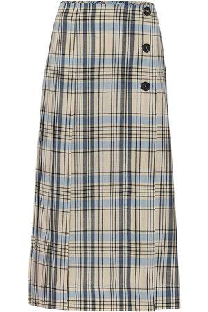 Victoria Beckham Gonna midi a quadri in lana