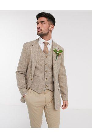 ASOS DESIGN Wedding - Blazer slim in Harris tweed in lana a spina di pesce cammello