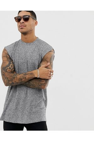 ASOS T-shirt oversize senza maniche in tessuto mélange a coste