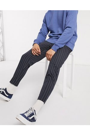 ASOS DESIGN Pantaloni eleganti affusolati gessati navy
