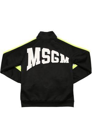 Msgm Felpa In Misto Cotone Con Logo