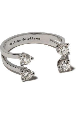 DELFINA DELETTREZ Anello 'Dots' con diamanti - WHITE GOLD/SILVER