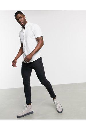 Only & Sons Camicia stretch a maniche corte bianca in cotone