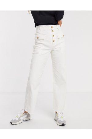 & OTHER STORIES Pantaloni con patta con bottoni bianco sporco in coordinato-Crema
