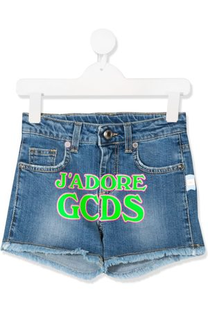 GCDS Shorts denim con stampa - Di colore