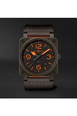Bell & Ross Uomo Orologi - BR 03-92 MA-1 Limited Edition Automatic 42mm Ceramic and Leather Watch
