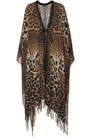 Saint Laurent Caftano a stampa leopardata in lana