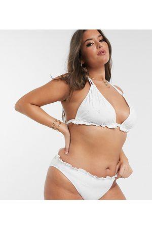 ASOS ASOS DESIGN curve - Slip bikini a vita bassa mix and match bianchi in pizzo