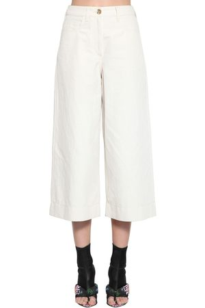 Kenzo Pantaloni Cropped In Drill Di Lino