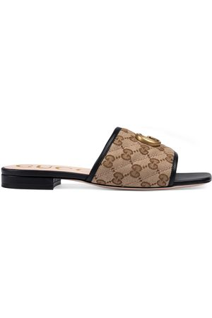 Gucci Sandalo slider donna in tessuto GG matelassé