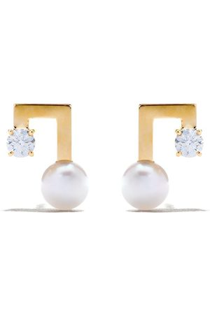 Tasaki Donna Orecchini - Orecchini a bottone in 18kt Balance Note Collection Line con perla Akoya e diamanti