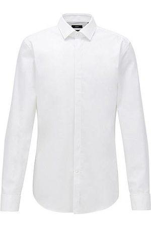 HUGO BOSS Uomo Elegante - Camicia da smoking slim fit in cotone facile da stirare