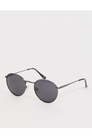 ASOS Occhiali da sole rotondi in metallo piombo con lenti sfumate