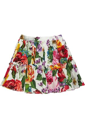 Dolce & Gabbana Flower Print Cotton Poplin Skirt