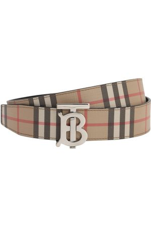 Burberry Cintura Reversibile In Pelle E Check 35mm