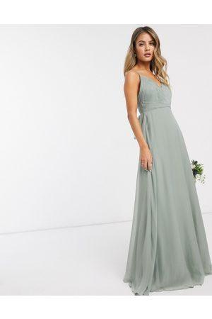 ASOS Bridesmaid - Vestito lungo allacciato in vita con spalline sottili e corpetto arricciato